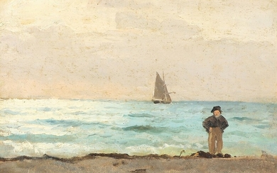 Carl Locher: Beach scenery from Skagen. Signed Carl Locher. Oil on canvas laid on cardboard. 24×32.5 cm.