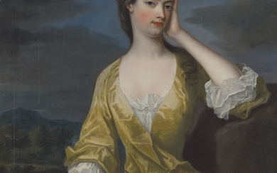 Charles Jervas (Dublin c. 1675-1739 London), Portrait of Lady Elizabeth Egerton, Countess of Bridgewater (1687-1714), three-quarter-length, in a yellow dress, a landscape beyond