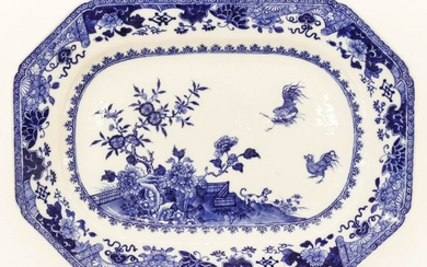 Chinese 18th Cent. Rooster & Peony Export Porcelain