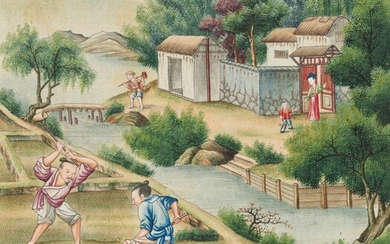 Chinese School, late 18th Century, The cultivation and production of rice - a set of 24