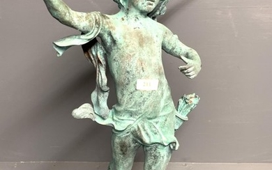 Classical verdigris bronze figure of a winged archer (bow ab...