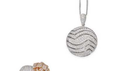 Diamond Pendant Necklace and Earring Set