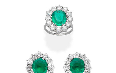 EMERALD AND DIAMOND CLUSTER RING AND EARRING SUITE