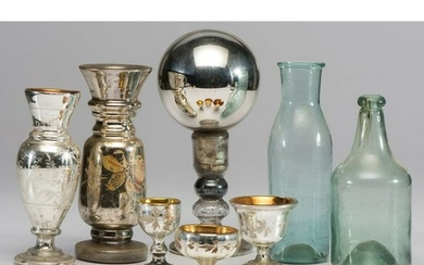 Eight Pieces of Blown & Mercury Glass
