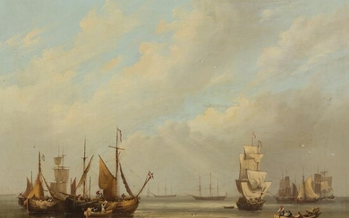FREDERICK CALVERT (IRISH 1785 - 1845) SHIPS AT ANCHOR