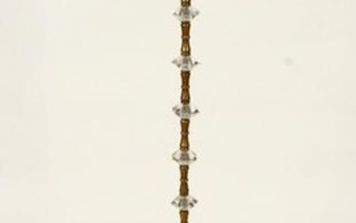 FRENCH BRASS FLOOR LAMP FACETED CRYSTALS C.1940
