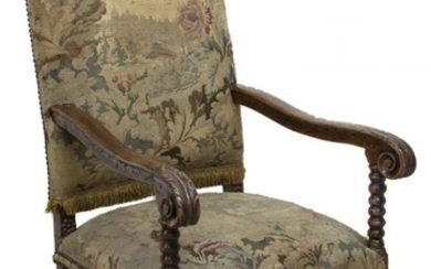 FRENCH LOUIS XIII STYLE UPHOLSTERED FAUTEUIL