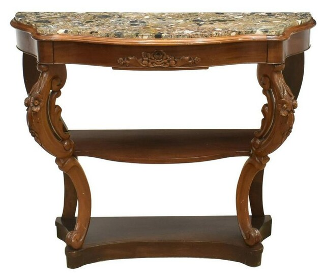 FRENCH LOUIS XV STYLE MARBLE-TOP MAHOGANY CONSOLE