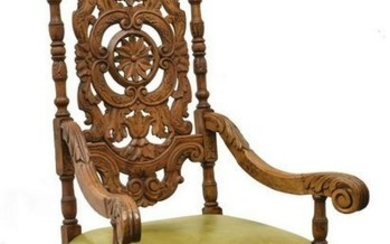 FRENCH WELL-CARVED OAK ARMCHAIR