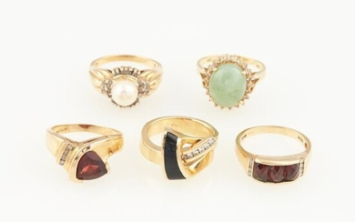 Five Diamond, Stone and Bead Rings, 14K 17 dwt. all
