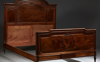 French Inlaid Carved Mahogany Double Bed, c.1930, the