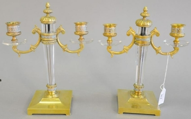 French bronze and glass two-arm candelabra, square