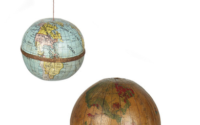 (GLOBES.) Two 20th century miniature curiosity globes.