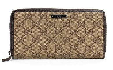 GUCCI CANVAS WALLET 2006 ca Beige monogram logo canvas and...