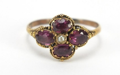 Georgian unmarked gold amethyst and seed pearl ring