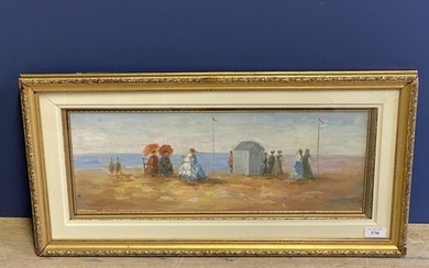Gilt framed oil painting of a Victorian beach scene with fig...