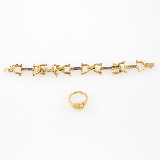 Gold and Stone Flexible Bracelet and Ring, 18K 17 dwt. all