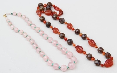 Group of (2) stone bead necklaces. FR3SH.