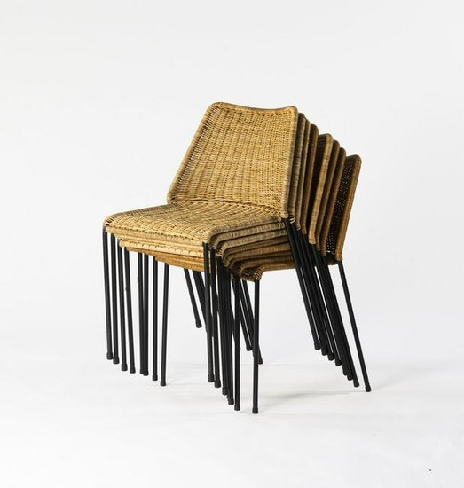 Herbert Hirche, Eight stacking chairs 'Santa Lucia',