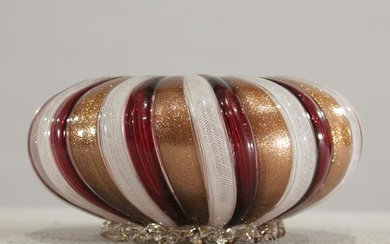 Italian Glass Mushroom Striped Bowl Gold Flecks