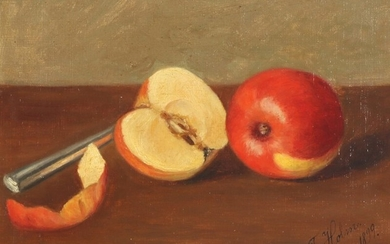 J. Holm 19th century: Still life with apples on a table. Signed and dated J. Holm 1899. Oil on canvas laid on plate. 20.5×23.5 cm.