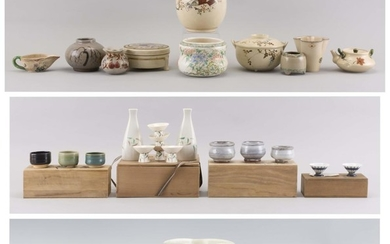 LARGE LOT OF JAPANESE CERAMICS 1-10) Ten pieces of Kyoto pottery including a wine pot with maple leaf design, a leaf-form pitcher, a...