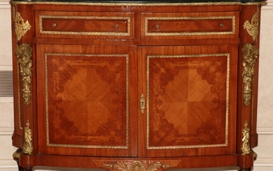 """LOUIS XVI STYLE MARBLE TOP AND FRUITWOOD COMMODE, H 40"""", W 49"""""""