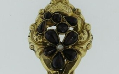 LOVELY Victorian 14k Yellow Gold & Garnet Pin Circa