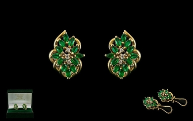 Ladies Pair of 14ct Gold Earrings - Set with Emeralds and Di...