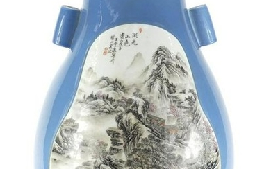 Large Chinese porcelain arrow vase, finely hand painted