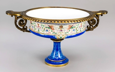 Large historicism centerpiece, 2nd half of the 19th century, in the style of the Renaissance, trumpet-shaped stand, curved bowl with bronze mounting, white milk glass with rich polychrome painting, stand with blue background with ornamental decor, bowl...
