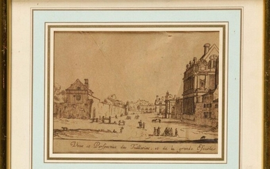 Late 18th century French school, follower of Israel SYLVESTRE (1621-1691) View and Perspective of the Tuileries and the Great Stable Pencil drawing Height 12.5 cm - Width 17 cm (at sight) (folding and slight tear)