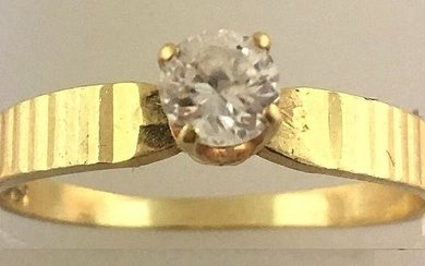 Lovely 14k Yellow Gold Band Solitaire Diamond Ring