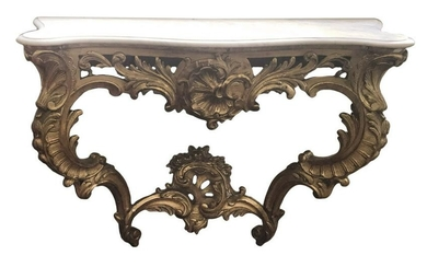 """MARBLE TOP GILTWOOD CONSOLE TABLE C. 1835 36 1/2"""" TALL"""