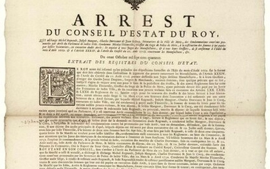 """METZ (57). 1741. MANUFACTURING. (LOIRET). """"Arrest of the Council of State of the KING, which relieves Michel Regnault, Joseph DORVEAUX & Jean LE COCQ, Dyers of the City of METZ, of the Convictions against them pronounced by Judgment of the Parliament..."""