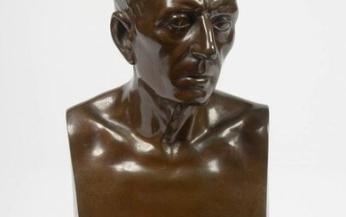 """Male bust"" in bronze with a brown patina. Bearing the mark of the foundryman F. Barbedienne and the mechanical reduction stamp A. Patented collas. French work. Period: 19th century. Resting on a black marble base. H.(out of the base):21,5cm."