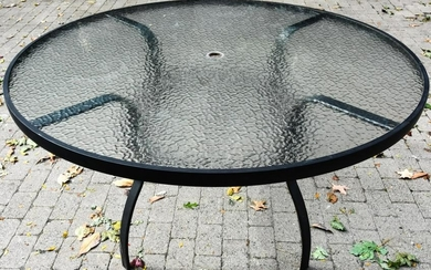 Mid C Cast Iron & Glass Outdoor Side Table