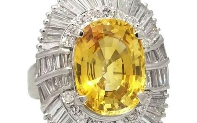 Oval Yellow Sapphire and Diamond Ballerina Ring in