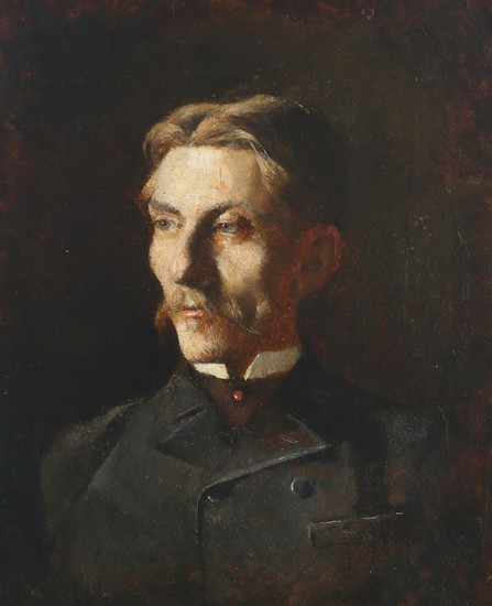 P. A. Schou: A portrait of vice consul V. Greibe. Inscribed on the reverse. Oil on cardboard. 29×24.5 cm.
