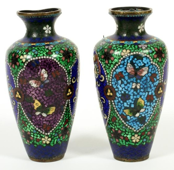 PAIR CHINESE CLOISONNE VASES 19TH.C. 2