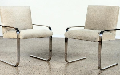 PAIR UPHOLSTERED POLISHED CHROME CHAIRS C. 1970