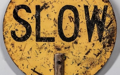 "Painted Metal ""Slow/Stop"" Sign"