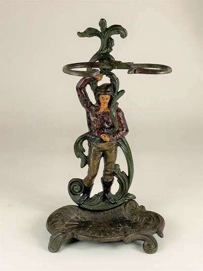 Painted and Cast Iron Umbrella Stand