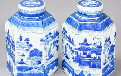 Pair Chinese Canton Blue & White Porcelain Caddies