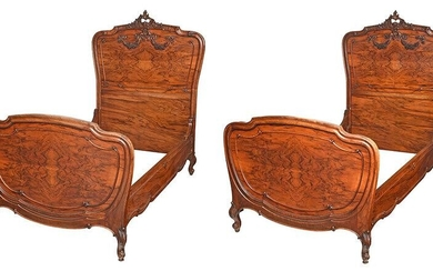 Pair Louis XV Style Carved Walnut Twin Beds