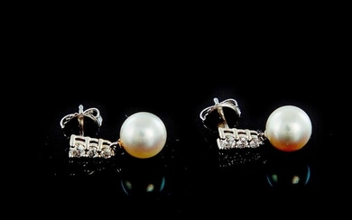 Pair Mikimoto diamond and pearl pendent earrings (2pcs)