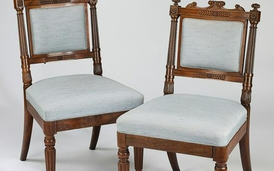 Pair of 19th c. Victorian carved walnut chairs