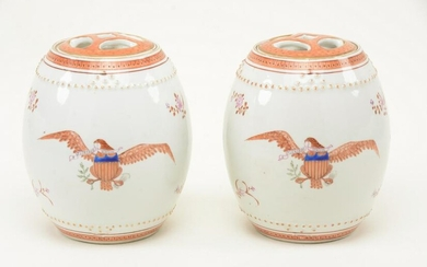 Pair of Chinese export porcelain covered cannisters