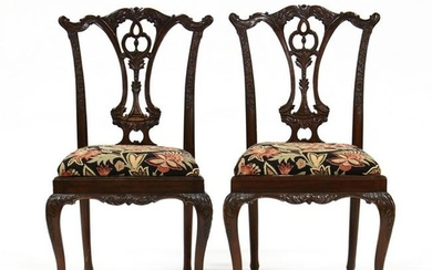 Pair of Chippendale Style Carved Mahogany Chairs
