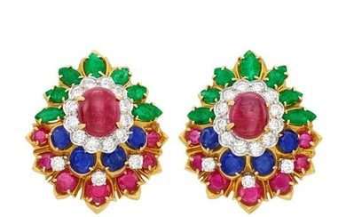 Pair of Gold, Cabochon Ruby, Gem-Set and Diamond Earclips